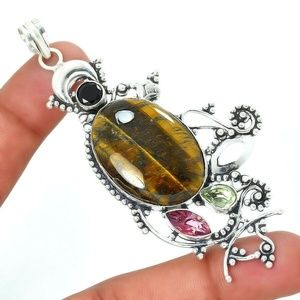TIGERS EYE STONE 925 SILVER PENDAND NECKLACE